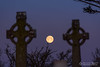 Moonset at Slane (mythicalireland) Tags: full moon setting moonset slane hill cemetery graveyard headstone memorial celtic cross monument historic ancient astronomy astrophotography