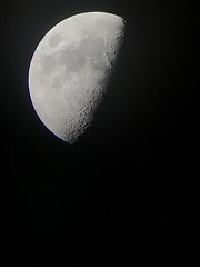 Moon with Pentax K200D camera attached to a refractor telescope, vertical flip needed to see the Moon as it is (keitlinsejdarasi) Tags: university physics astronomy observations