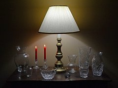 Still Life (davidwilliamreed) Tags: lamp vases candles candlesticks chest myhouse norcrossga gwinnettcounty availablelight stilllife bowl