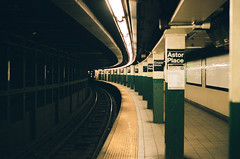 subway absence (NYC Macroscopist) Tags: portra400 film subway 50mm nyc newyork manhattan mta geometric pattern leica analog metro tracks astorplace cooperunion