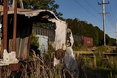 Ruin/3 (trevormarron) Tags: metal red green wreck fire abandoned ruin desolate steel iron train equipment construction recycling nature trailer burn weathered rust silver conveyor forsaken deserted urbex urban