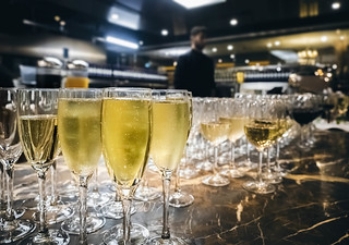 Ready-to-serve glasses of white wine