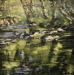 Voices of The Stream - oil on canvas 80 x 80 cm available (www.sandragraham.co.uk) Tags: artartworkartistartistscontemporaryartcollectorstreambrookburnwaterflowingnaturepaintingartistsimpastopainting contemporary artist worcestershire shropshire lem brook fishing trout planet httpswwwflickrcomgroupscontemporaryartsociety