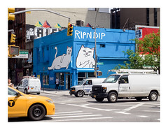 160514_1335_160514 121425_oly_S1_New York (A Is To B As B Is To C) Tags: aistobasbistoc usa newyorkstate newyork roadtrip travel olympus stylus1s color corner delanceyst orchardst manhattan lowereastside ripndip blue truck van car cars carcity city cityscape citylife urban graffiti cat street streetlight cab yellow