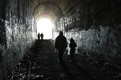 Don't Look Back (Chancy Rendezvous) Tags: chancyrendezvous davelawler blurgasm cave tunnel silhouette people railroad clintontunnel train abandoned decay spooky dark child charlie strangerdanger lawler