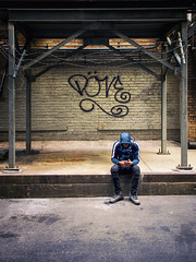 Lonesome Döve (Carl's Captures) Tags: candid portrait streetshooting streetphotography alley chicagoillinois cityofchicago downtown theloop grafitti döve barbedwire bricks moody urban male man guy dude chicagoan hood boots sitting framework framing cellphone mobilephone texting messaging nike swoosh cigarette smoking cookcounty thewindycity chitown may spring cage caged pavement cagey hidden secretive solo alone isolated nikond7500 sigma18300 photoshopbyfehlfarben thanksbinexo