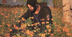 When you let the sadness seep in.. (Markthedark SL) Tags: flowers avatar sl orange landscape second tree floral flower catwa man male virtual secondlife life outdoor sad depressed summer spring
