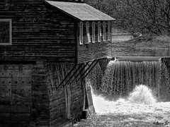 ... (Jean S..) Tags: river water waterfall building trees bw blackandwhite monochrome power windows