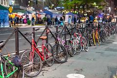 No Parking for bikes (Santhosh Janardhanan) Tags: bicycle nyc newyork city night rails rail fence nikond750