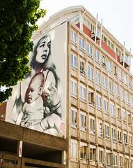 Mother and child building (PDKImages) Tags: bristol bristolstreetart street art urban banksy ukstreetart cityscene scene motherandson clothedinthesun el mac elmac