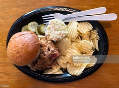 My favourite BBQ (Little Hand Images) Tags: barbeque barbecue bbq chopped coleslaw pickles chips ruffledpotatochips food southern ncbarbeque vinegarbased gettyimages
