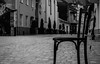 A moment of rest (WT_fan06) Tags: chair brasov city romania black white bw blackandwhite monochrome street photography nikon d3400 dslr art artistic artsy aesthetic perspective focus focal point aperture contrast blur atmosphere tired tiring old grey tone depth field 3 odd lonely loneliness path walkway cobblestone lines urban rumanien schwarz weiss kronstadt mono