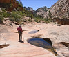 Wilderness Explorer (2) (Runemaker) Tags: manypools zion nationalpark utah wilderness backcountry sandstone mountains cliffs trees pools ponds water hiking hiker woman patricia
