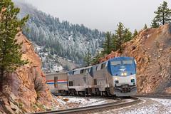 AMTK 6 @ Coal Creek Canyon, CO (Mathieu Tremblay) Tags: golden colorado unitedstates us plainview railroad railway chemindefer up unionpacific moffattunnel subdivision train amtrak amtk californiazephyr ge generalelectric p42dc 175 6 sony a99 sal70300g snow neige