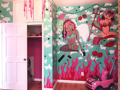 Fire & Ice Airbnb Murals - Bedroom 3 (leannaperry) Tags: leanna perry fire ice cuntmafia cxntmafia mural murals paint painting draw drawing clouds heaven hell pinup dolls kawaii cute pink blue interior design graphic illustration large scale graphics designer brooklyn bushwick ny new york female art artist room bedroom living kitchen airbnb