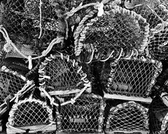 Lobster pots at Conway. (pixiepic's) Tags: lobster posts rope cage stacked blackandwhite blackdiamond