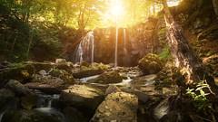 La Lozère (jonathan le borgne) Tags: waterfall cascade eau water nature river rivière forêt forest tree rocks light colors sun soleil canon
