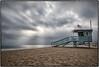 May Gray, Santa Monica Beach. (drpeterrath) Tags: canon eos5dsr 5dsr beach pacific ocean weather sky clouds water lifeguard mood flag american usa travel outdoor landscape seascape losangeles california longexposure