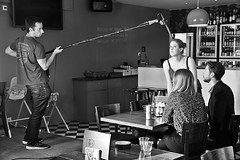 Making Movies # 10 Microphone ? (just.Luc) Tags: movie short kortfilm courtmétrage bn nb zw monochroom monotone monochrome bw mannen men männer hommes hombres uomini vrouwen femmes donne mujeres women frauen actors microphone microfoon café bar belgië belgien belgique belgica belgium vlaanderen flandres flanders