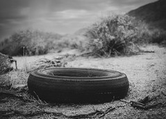 Steel-Belted Radial (dwblakey) Tags: california owensvalley blackandwhite desert ladwp tires history monochrome rubbish lowpov bishop junk outside unitedstates us tire dump waste old