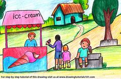 Ice Cream Seller (drawingtutorials101.com) Tags: ice cream seller people occupations icecrem vendor sketching sketch sketches draw drawing drawings color colors coloring how pencil pencils speed