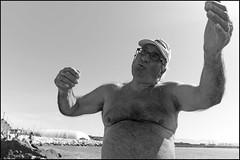 (Indications) (Robbie McIntosh) Tags: leicam9p leica m9p rangefinder streetphotography 35mm leicam autaut candid strangers leicaelmarit28mmf28iii elmarit28mmf28iii elmarit 28mm seaside man belly tan naked blackandwhite