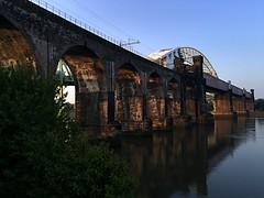 Archery (Wilcasbilcas) Tags: dawn rivermersey widnes runcornrailwaybridge britanniabridge ethelfledabridge runcornroadbridge silverjubileebridge