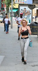 Hollister (Waterford_Man) Tags: hollister midriff midrift blonde bare mobile girl street people path candid london