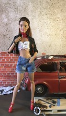 Leather and Lace (MaxxieJames) Tags: vittoria belmonte barbie doll dolls mattel made move fashion fashionista mechanic garage car
