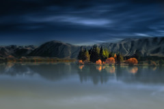 Mystical Lake Ruataniwha (Jos Buurmans) Tags: autumn canterbury hills lake lakeruataniwha landscape mackenzie nature newzealand smallgroupoftrees southisland trees twizel nz