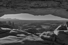 Mesa Arch View in Black and White (jed52400) Tags: mesaarch canyonlandsnationalpark utah landscape blackandwhite