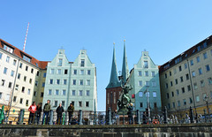 Pleasant views from the river (angelsgermain) Tags: view bank river square buildings houses staue stgeorgeslayingthedragon sculpture nikolaikirche spires sky sun people tourists leisure riverspree nikolaiviertel berlin deutschland germany church