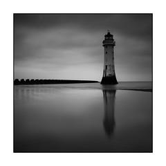 34/100x (neals pics) Tags: 100xthe2018edition 100x2018 image34100 my100x–squareformat blackandwhite bw mono monochrome lighthouse landmark sea coast coastal water cloud reflection moody beach newbrighton uk sand