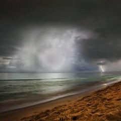 Sea, Air, Land (Robyn Hooz) Tags: lightning strike colpo fulmine cuba mare sea storm dark tempest riflesso sabbia sand verde grigio green