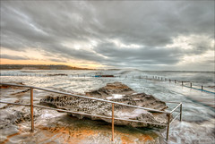 Rust and lace (JustAddVignette) Tags: australia clouds cloudysunrise dawn deewhy early landscapes newsouthwales nosun northernbeaches ocean rain rockpool rocks seascape seawater sky sunrise swell sydney water waves
