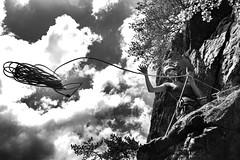 ROPE !!!! (MomchilAtanasoff) Tags: girl climbing bulgaria rila borovets rockclimbing bw mountain samokov rope helmet rappel perfect day