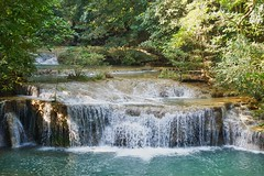Erawan waterfall in Kanchanaburi, Thailand (UweBKK (α 77 on )) Tags: erawan waterfall national park water flow trees forest rocks stream green recreation hike hiking kanchanaburi province thailand southeast asia sony alpha 77 slt dslr
