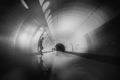 ...beneaththestreet III... (*ines_maria) Tags: flickrhero prag metro architecture tube man reflection light people andel transportion public railway undeground indoor travel sw bw monochrome lonely cycle prague panasonic dcgh5