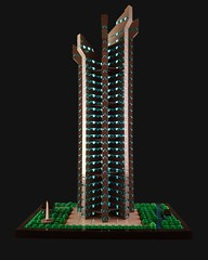 Crown Tower MOC by night (betweenbrickwalls) Tags: architecture lego afol moc skyscraper tower building archbrick brixtar bynight toys