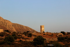 the letters on the tower are «ΚΚΕ» Communist party of Greece. (christinehag) Tags: tower sunset kommunist party tour coucher du soleil landscape paysage