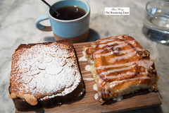Coffee and pastries - almond brioche and sticky bun (thewanderingeater) Tags: sundayinbrooklyn brunch williamsburg nyc brooklyn