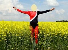 Gymnastics in rape field 1 (wetmuddy) Tags: leorad unitard spandex lycra fun outdoor rape field pantyhose tights strumpfhose red gymnastik tight