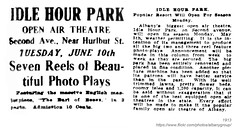 1913 idle hour park (albany group archive) Tags: albany ny history 1913 idle hour park open air theatre movies film second avenue early 1900s theater