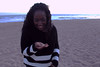 I gave sharon a shell (ell.tinsley) Tags: sunset seashell ocean southerncalifornia model smiles