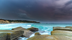 Rocky Seascape and Turquoise Sea (Merrillie) Tags: australia beach centralcoast clouds cloudy coast coastal dawn daybreak earlymorning landscape morning nature newsouthwales norahhead nsw ocean outdoors overcast sea seascape sky soldiersbeach sunrise surf water waterscape waves weather wyong