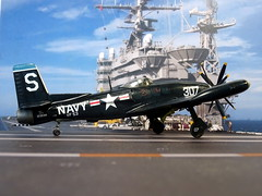 "1:72 Grumman G-79B/F9F-1 ""JetCat""; aircraft ""307/S"" of the US Navy VF-53 ""Iron Angels"" on board of USS Kearsarge; Korea, 1952 (Whif/Kitbashing) (dizzyfugu) Tags: 172 grumman g79b g79 panther f9f jetcat mixed propulsion contraprop turboprop korea war fighter attack aircraft paper project us navy usn marines usmc dark blue fs 35042 mig carrier uss kearsarge vf53 iron angels modellbau model kit kitbash kitbashing fictional aviation dizzyfugu"
