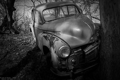 Downhill from here (Dennis van Dijk) Tags: urbex ue eu europe germany urban exploration car cars classic bw blackandwhite black white vintage retro forest precious beauty moody rust lost found decay derelict abandoned rotten left behind american