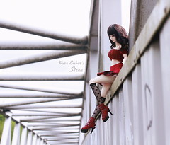 Look up (pure_embers) Tags: angel philia sizuka pink drops obitsu48 emberssiren siren uk england doll dolls pure laura embers pureembers girl ball joint bjd gothic goth bridge red high heels