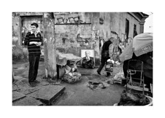 To sale (Jan Dobrovsky) Tags: ukraine odessa lenin people marketplace monochrome blackandwhite rain wet street leicaq figure outdoor picture document
