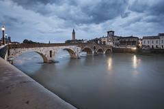 Verona - Italy (Dennis van Dijk) Tags: ponte pont pietra verona italy europe waterscape cityscape adige river riverscape beauty blue hour cloudy le long exposure